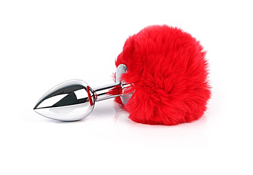 !Металлическая средняя  анальная втулка с хвостиком, цвет хвостика красный, 8х3,4 см