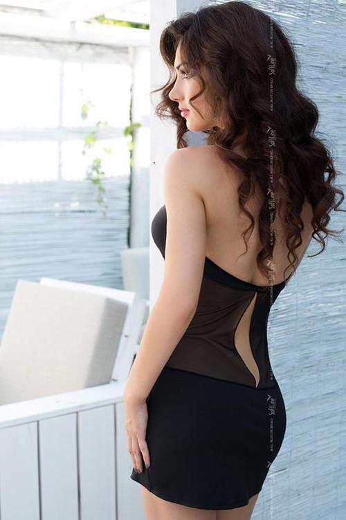 УЦЕНКА 25% Платье AKSEN с вставками из сетки, черное, разм.M (НЕБОЛЬШОЙ ДЕФЕКТ ТКАНИ)