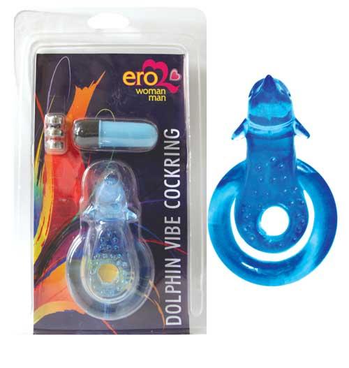 Двойное  эрекционное кольцо с вибрацией DOLPHIN, 7 режимов, гелевое, синее
