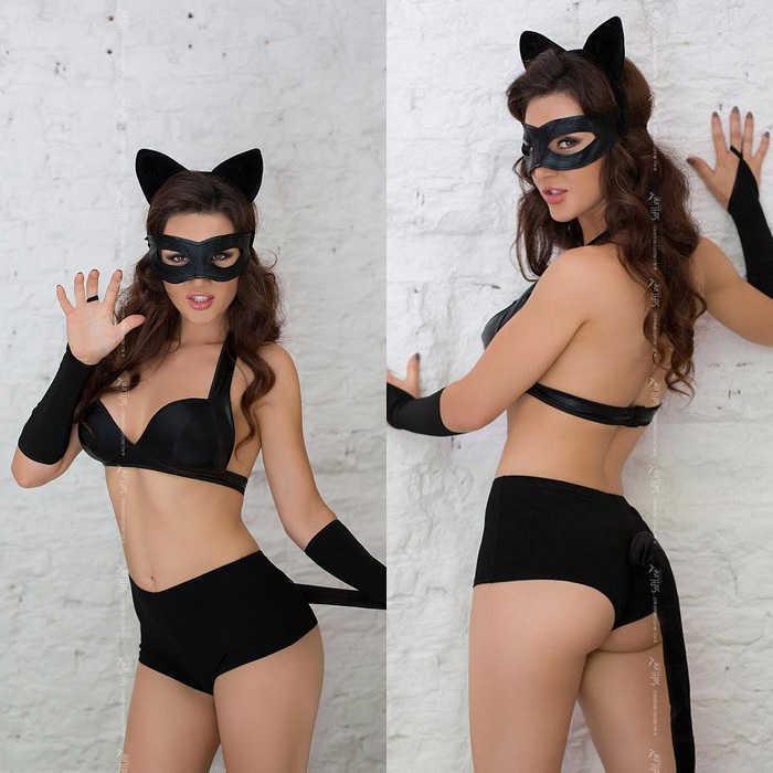 Костюм игривой Кошечки  CATWOMAN: эластичные шортики, лиф, перчатки, хвостик, ободок-ушки-чёрный, разм. S