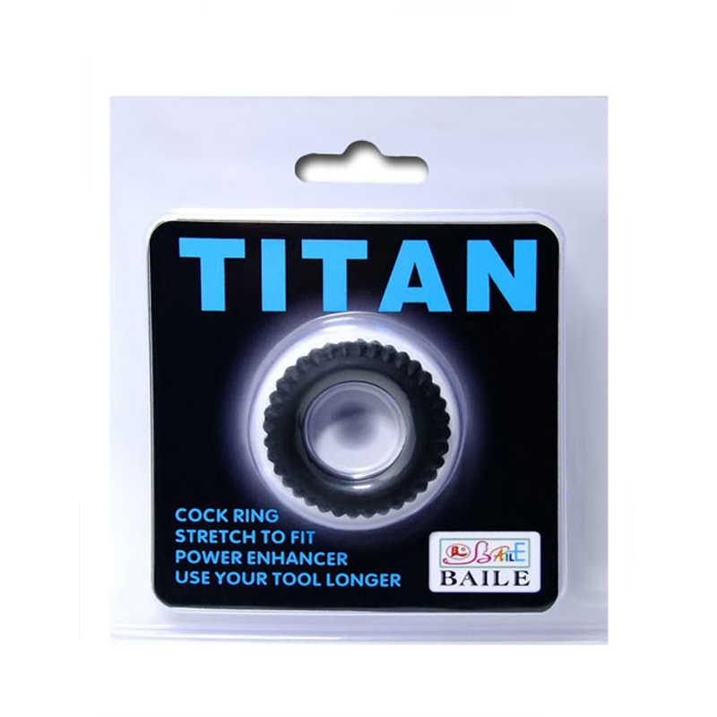 Эрекционное кольцо TITAN рельефное, силикон, черное, 3.5(1,8) см