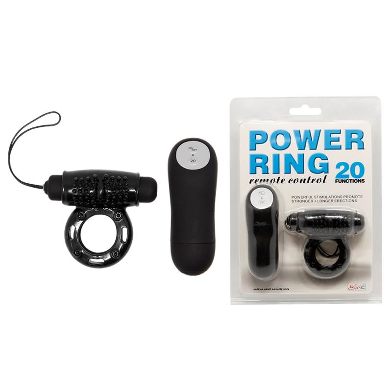 Виброкольцо POWER RING с дистанционным пультом, 20 видов вибрации, силикон, черное