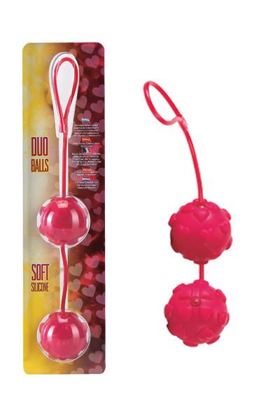 Вагинальные шарики DREAM TOYS с сердечками, красные,, Ø3,5 см