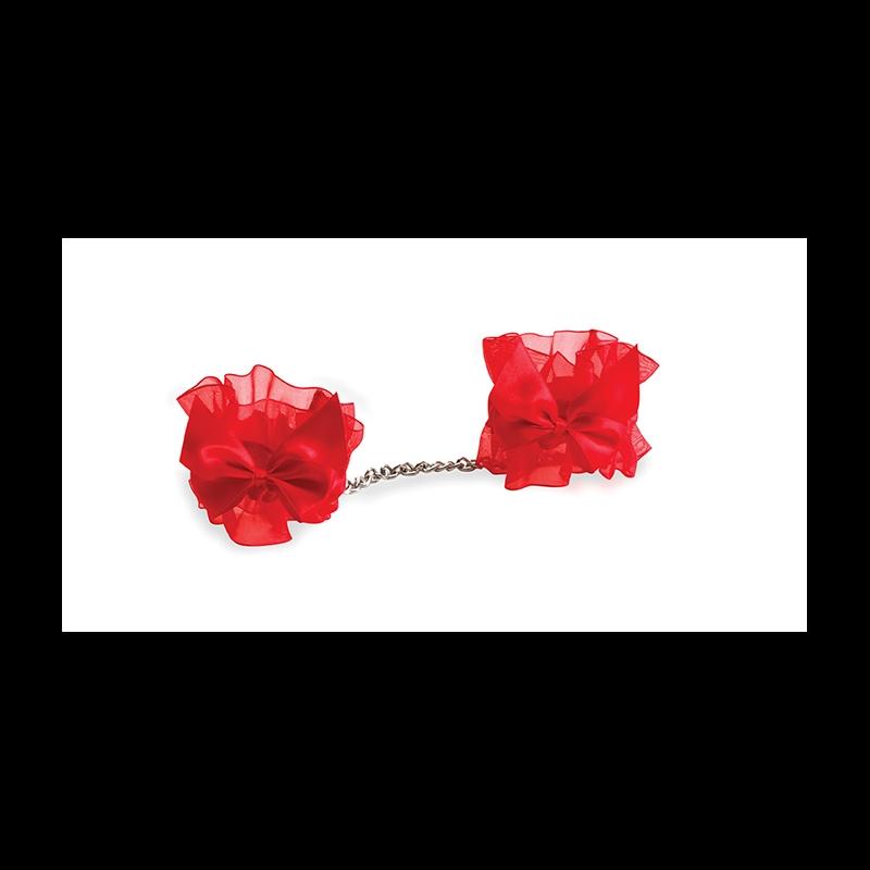 АКЦИЯ 25%! Подарочный набор BIJOUX  NDISCRETS: подвязки, наручники, пэстисы, щекоталка, сатин-атлас-пух, красные (БЕЗ ЩЕКОТАЛКИ)