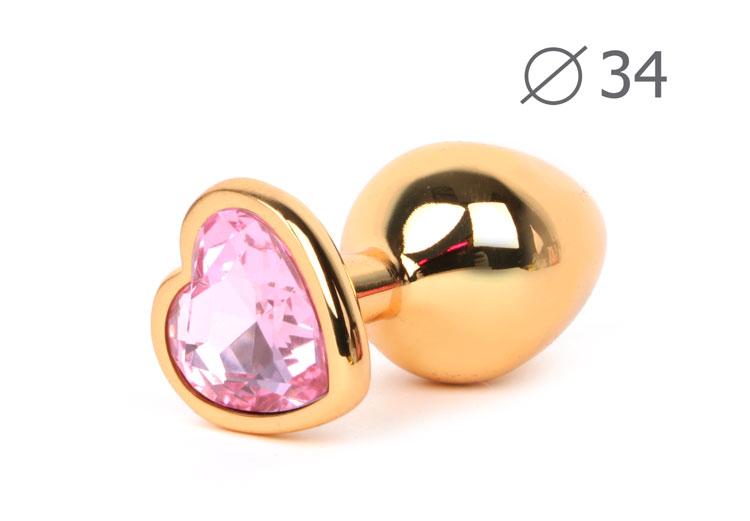 Анальная средняя  втулка-Сердечко золотое, цвет кристалла розовый, 8х3,4 см