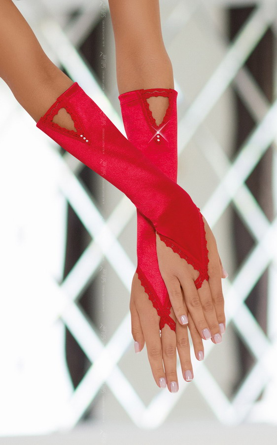 Перчатки атласные красные, разм. S/L