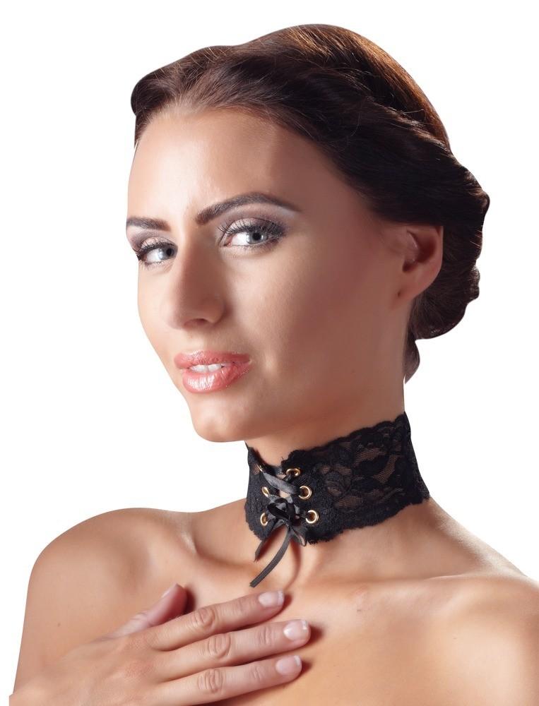 Украшение на шею кружевное, со шнуровкой, черный