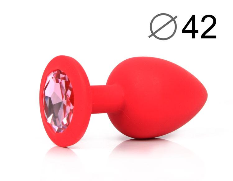 Анальная крупная пробка красная, с розовым  кристаллом, силикон, 9,5х4 см