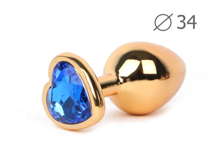 Анальная средняя втулка-Сердечко золотое, цвет кристалла синий, 8х3,4 см