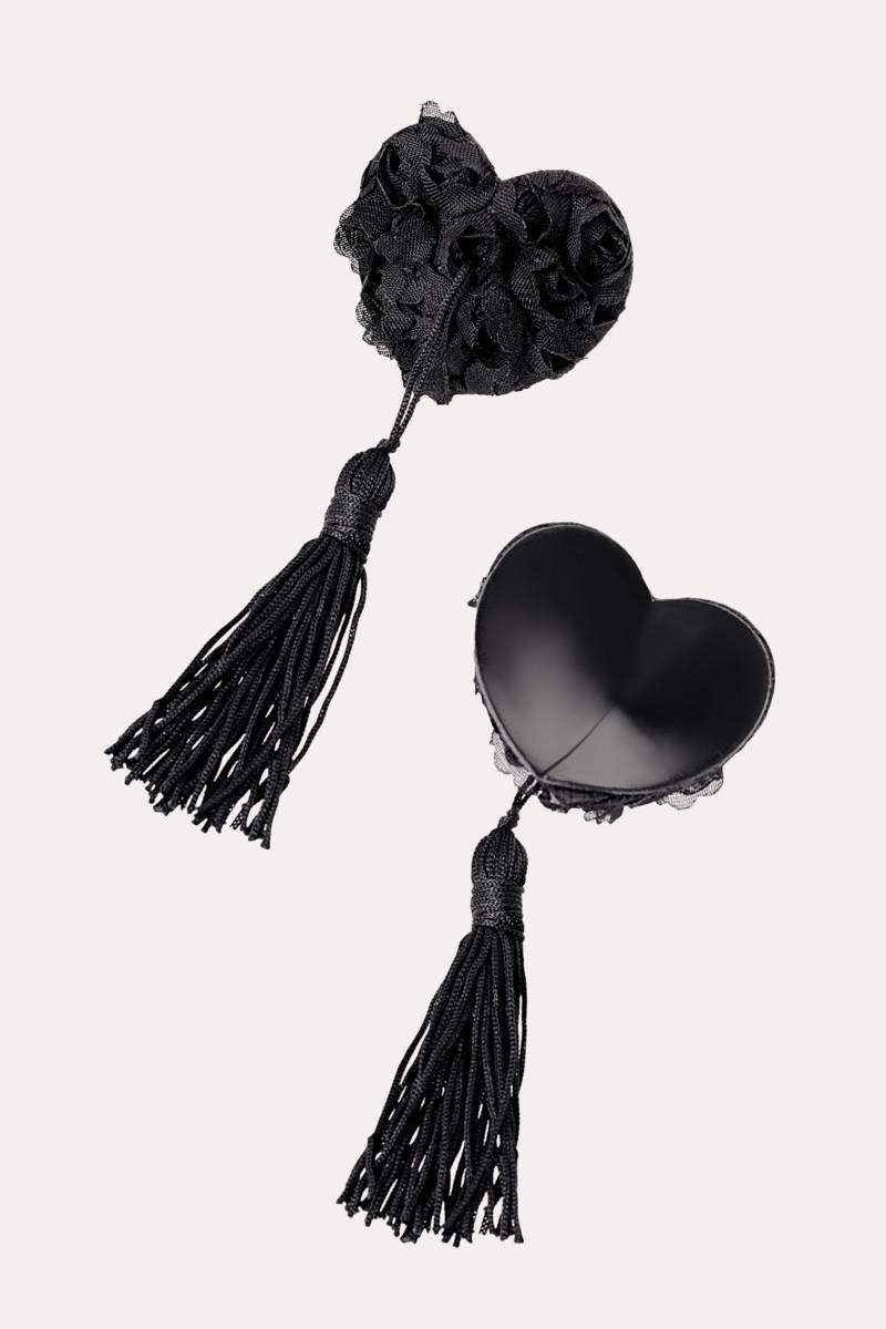 Пэстисы EROLANTA LINGERIE COLLECTION в форме сердец, с розами и кисточками,черные