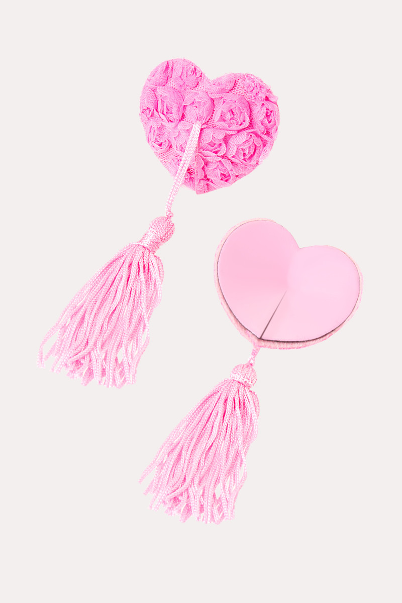 Пэстисы EROLANTA LINGERIE COLLECTION в форме сердец, с розами и кисточками,  розовые