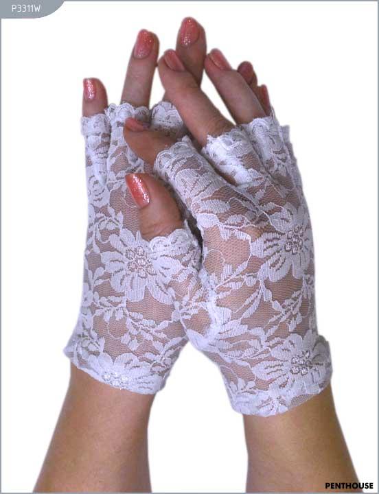 Перчатки короткие с открытыми пальчиками, белые
