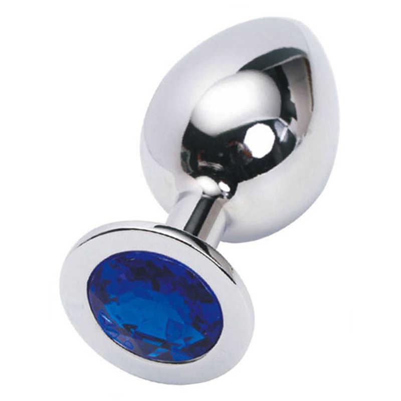 Анальная пробка с синим кристаллом большая, серебряная, 9х4 см