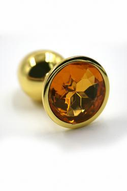 Облегченная анальная пробка DARK RED малая, золотая, с желтым кристаллом, 6х2,8 см