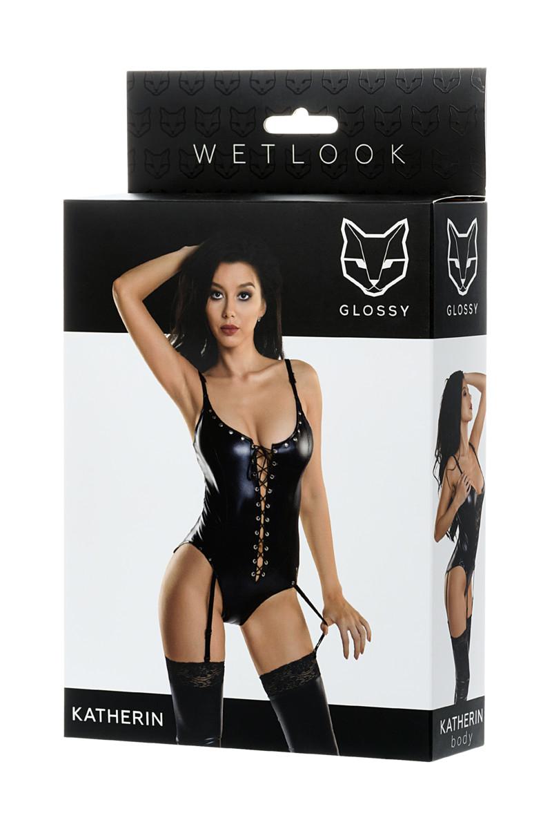 Боди  GLOSSY из материала  WETLOOK на шнуровке, черный, L