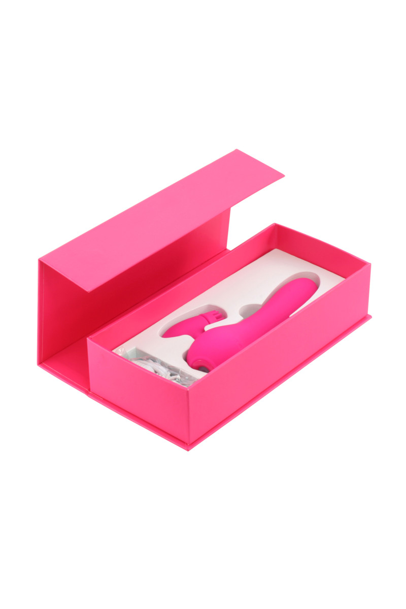 АКЦИЯ 20 !!!  Перезаряжаемый вибратор KAWAII DAISUKI, вращение клиторальной щеточки. 8 режимов, силикон, розовый, 15,5(12)х2,8 см