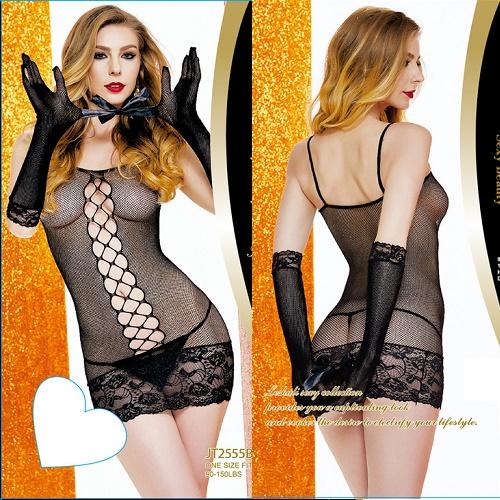 Комплект: платье, перчатки, шелковая лента, черный