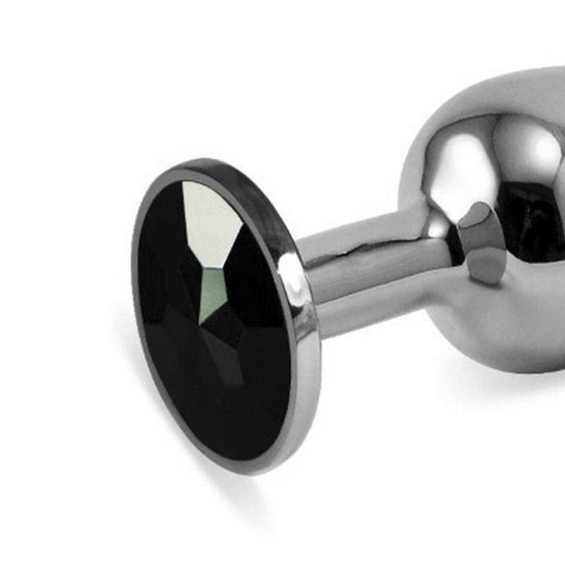 АКЦИЯ 25%! Анальная втулка SILVER  малая с черным кристаллом, серебристая,  7х2,7 см