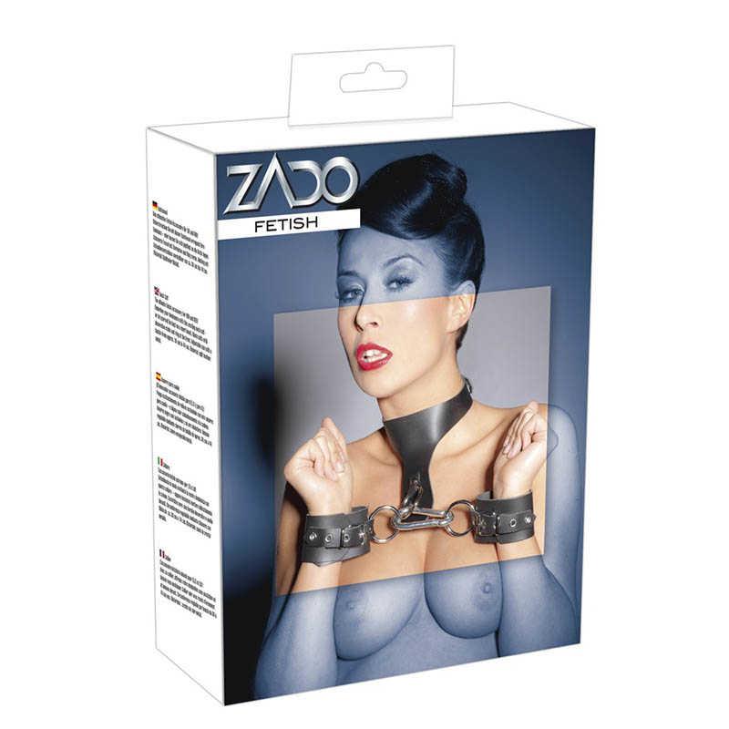 Набор оков для эротических игр ZADO, натуральная кожа, черный