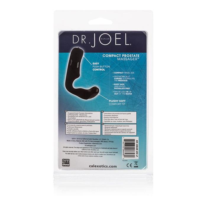 Компактный массажер простаты с вибрацией Dr. JOEL KAPITAN, силикон, черный, 7,5х2,5 см