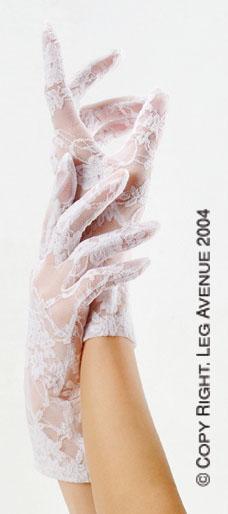Короткие гипюровые перчатки,белые