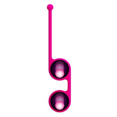 Вагинальные шарики Kegel Tighten UP III со смещённым центром тяжести, съемное покрытие, силикон, розовые, 3,5 см