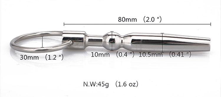 Уретральный плаг для стимуляции от NoTabu,  металл, цвет серебристый, 6,8х1,1 см .