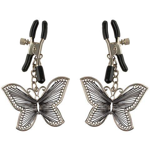 Зажимы на соски  Butterfly Nipple Clamps в виде бабочек, регулируемые, металл, серебряные