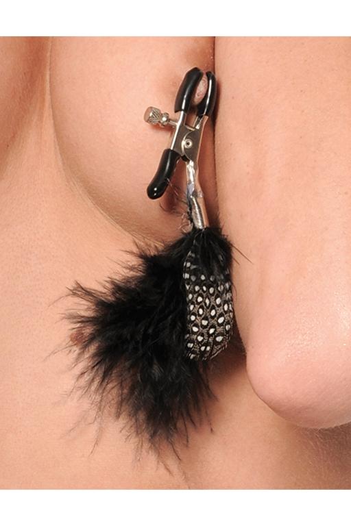 Зажимы на соски с украшениями Fetish Fantasy, регулируемые, нежные перышки, цвет - черный