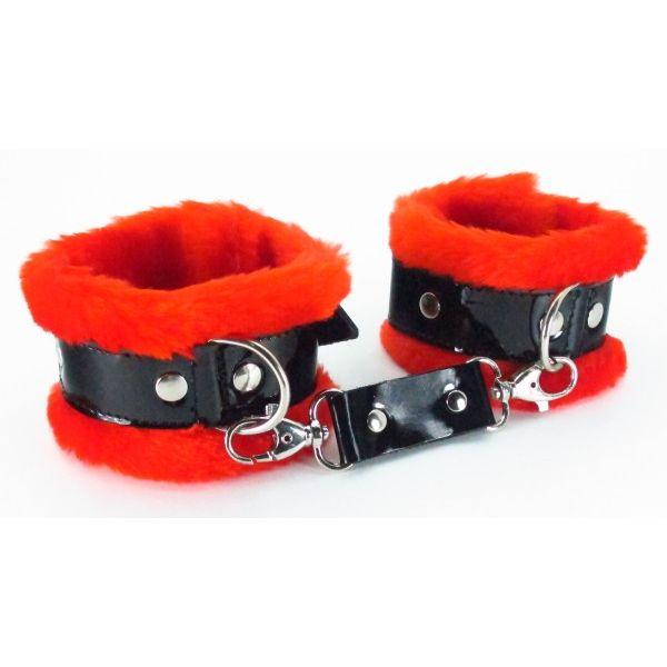 Пушистые наручники с лаковым ремешком (натуральная кожа) BDSM LIGHT, красные, 5,5 см