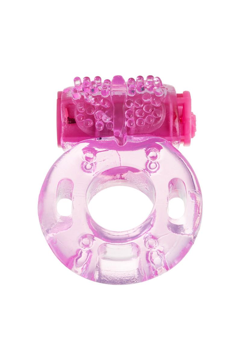 Виброкольцо TOYFA розовое прозрачное, 2-4 см