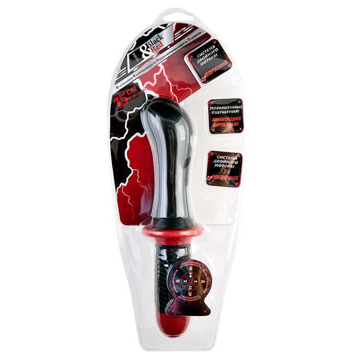Водонепроницаемый вибратор с двойным мотором, 10 режимов, силикон, черный/красный, 27(15)х(4,4-5,7) см