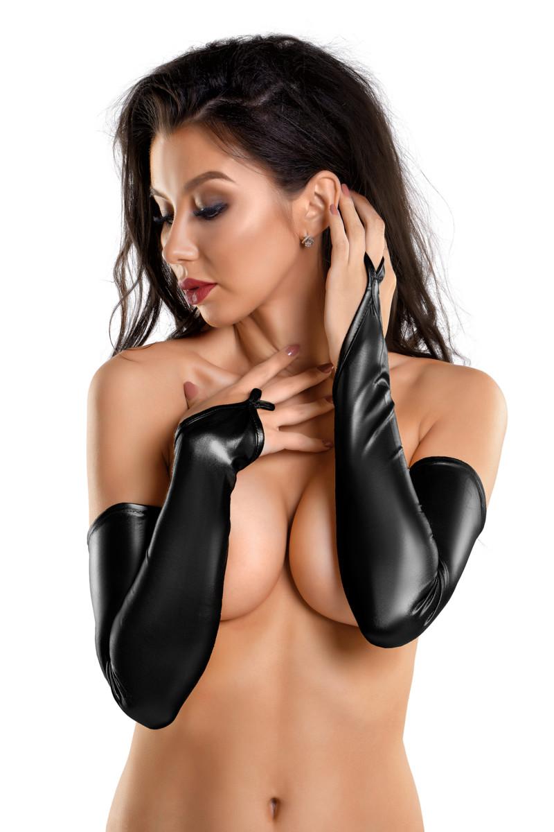Перчатки-митенки GLOSSY из материала WETLOOK выше локтя, черный, разм. M