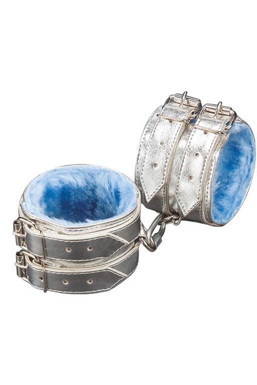 Наручники серебристые с голубым мехом,  искусственная кожа