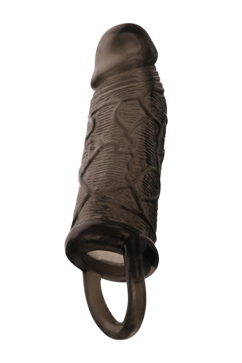 Утолщающая насадка-удлинитель  ТOYFA XLOVER с кольцом, силикон, черная прозрачная,  14,5х3,5(3) см