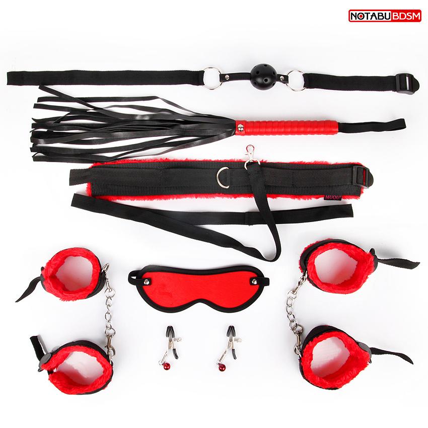 НАБОР: кляп, наручники, оковы, маска, ошейник с поводком, плеть, зажимы для сосков, черный/красный, ПОДАРОК - металлическая втулка-Елочка со стразом