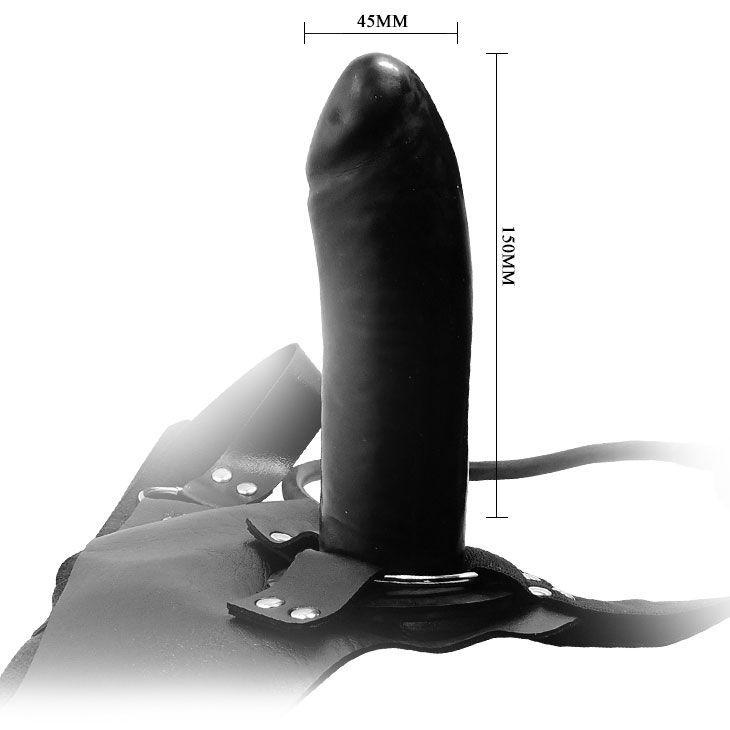 Надувной страпон INFLATING BARON с вибрацией,  черный, 15х4,5 см