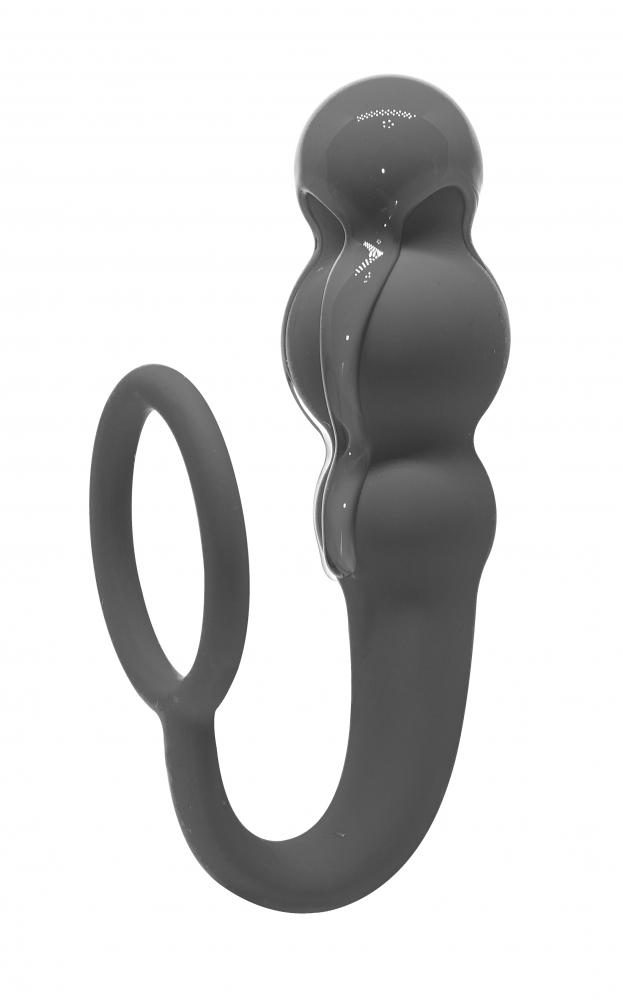 АКЦИЯ 25%! Анальный стимулятор SPICE IT UP LEGEND GRAU с эрекционным кольцом, серый, 20(10)х3 см