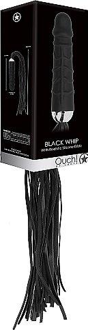 АКЦИЯ 15%!  Плетка с ручкой в виде фаллоимитатора OUCH!, натуральная кожа, силикон, черная, хвост - 30 см, дидло - 16(13) см