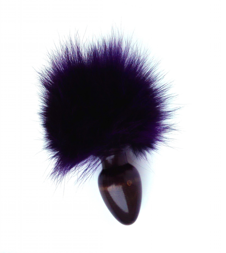 АКЦИЯ 25% Анальная пробочка с фиолетовым заячьим хвостиком, 7х3 см