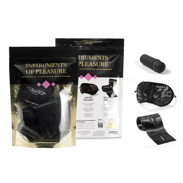 Изысканный набор ISTRUMENTS of PLEASURE - ленты для связывания, маска, вибропуля, фиолетовый