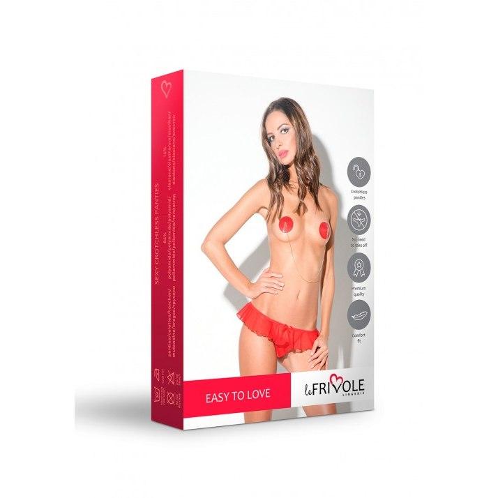 Утонченные женские трусики EASY TO LOVE  с доступом и нежной юбочкой,  красные, разм. M/L