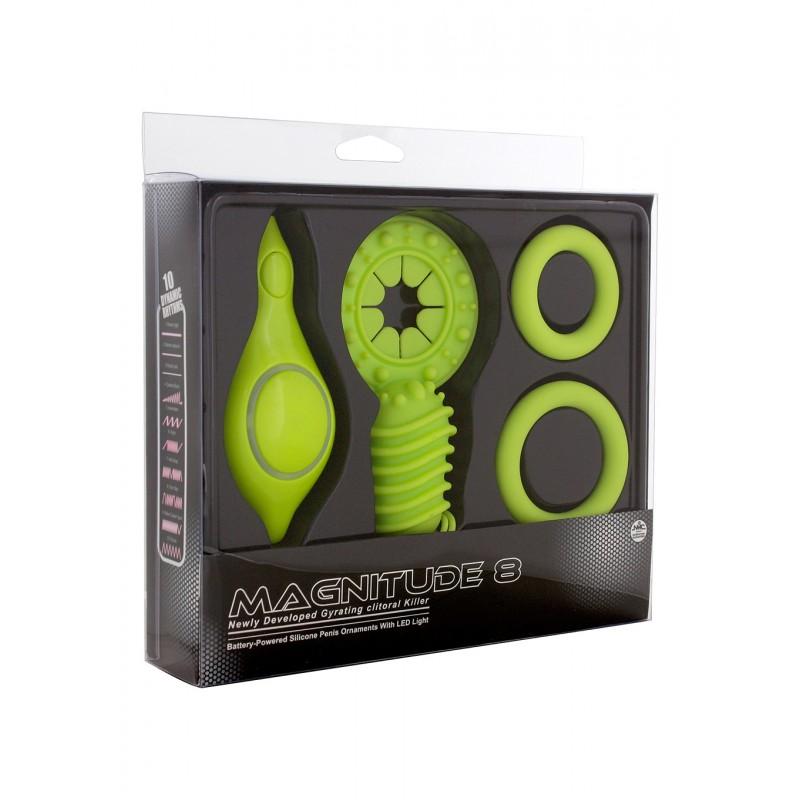 АКЦИЯ 25%! Набор MAGNITUDE 8 GREEN: виброкольцо со стимулятором клитора, два эрекционных кольца, силикон, цвет- зеленый