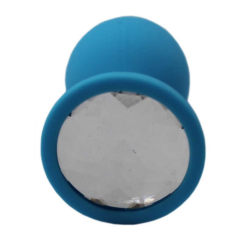 Средняя анальная пробка с прозрачным кристаллом, голубая, 8.5х3,7 см