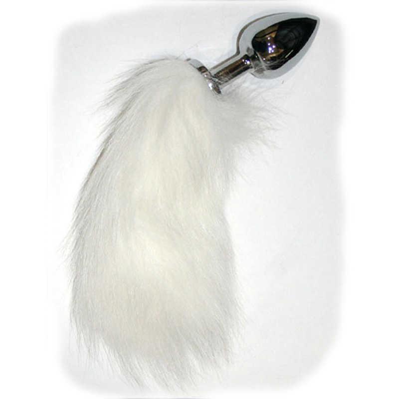 АКЦИЯ 25%! Анальная пробка с белым хвостиком, серебряная, 7х2,7 см, длина хвостика - 15 см