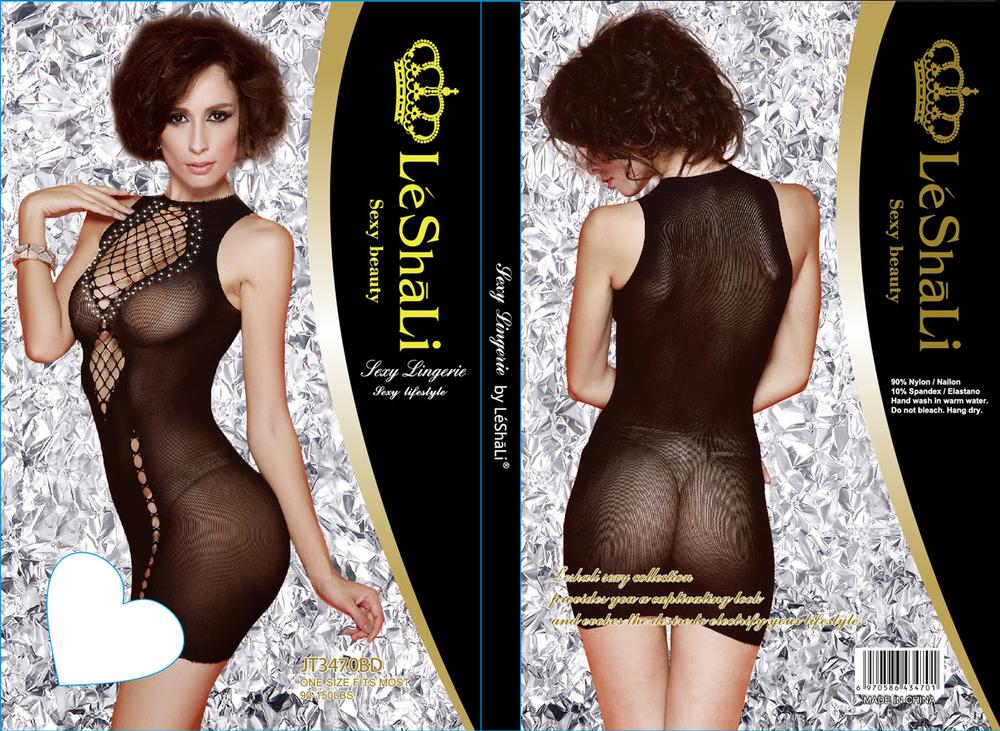 Эротическое платье из сетчатой ткани с имитацией шнуровки и стразами, черное, разм. OS