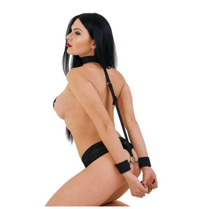 Ошейник с длинной лентой и отстегивающимися наручниками Джага-Джага, черный