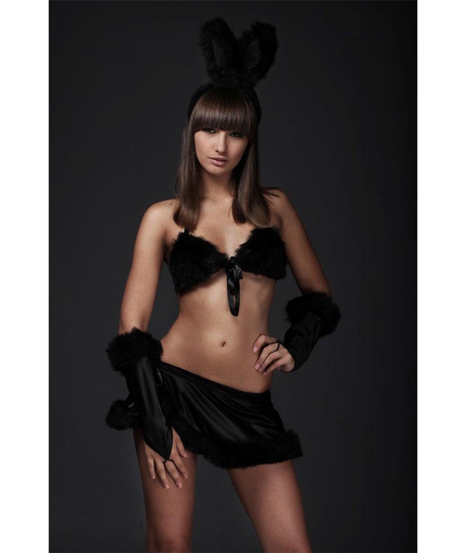 Костюм Зайка: топ, юбочка,  перчатка, ободок с ушками, чёрный, размер 42-4