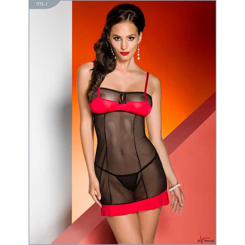Платье CELIA с лифом и оборкой, черно-красное, разм.S/M