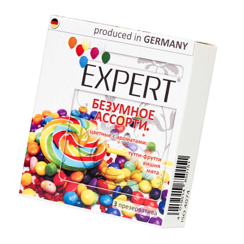 Презервативы EXPERT  Безумное ассорти, цветные: тутти-фрутти, вишня, мята, 3 шт